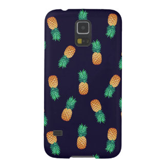 Pineapples On Navy Galaxy S5 Covers