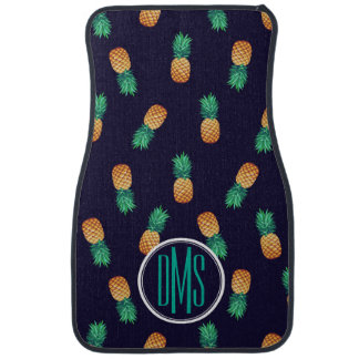 Pineapples On Navy | Monogram Car Mat