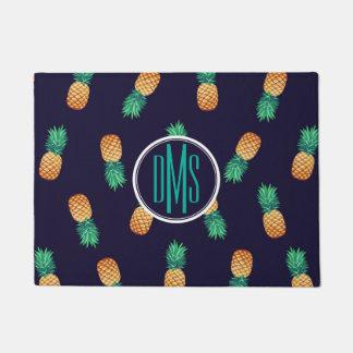 Pineapples On Navy   Monogram Doormat