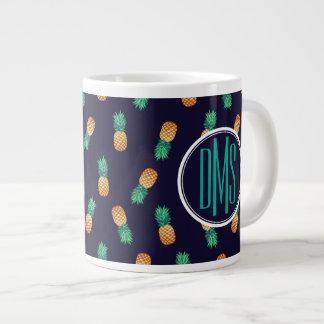 Pineapples On Navy | Monogram Large Coffee Mug