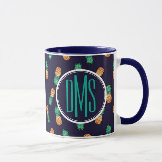 Pineapples On Navy | Monogram Mug