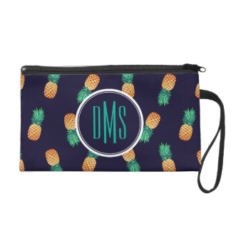 Pineapples On Navy | Monogram Wristlet