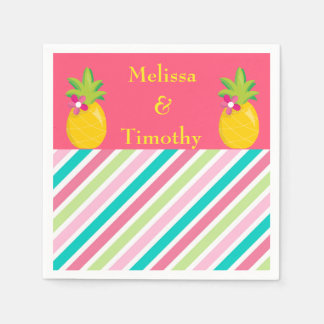 Pineapples on pink background paper napkin
