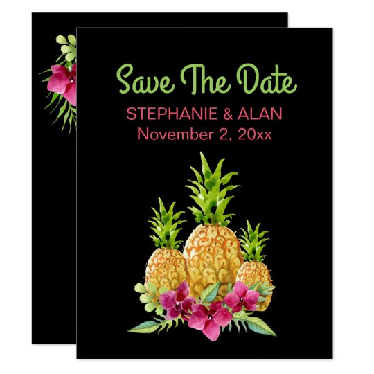 Pineapples Orchids Ferns Tropical Save The Date Card