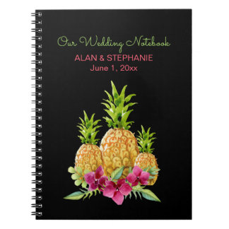 Pineapples Orchids Ferns Tropical Wedding Notebooks