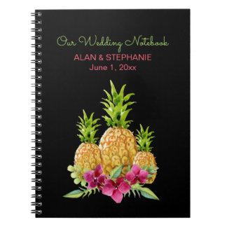 Pineapples Orchids Ferns Tropical Wedding Spiral Notebook