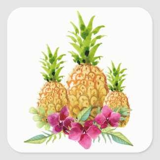 Pineapples Orchids Ferns Tropical Wedding Stickers