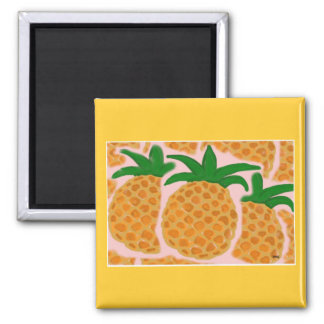 Pineapples Square Magnet