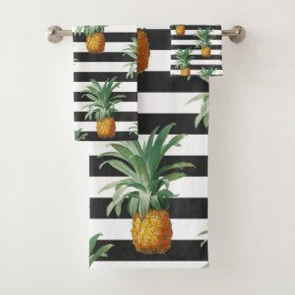 pineapples stripes grey bath towel set