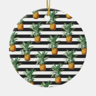 pineapples stripes grey ceramic ornament