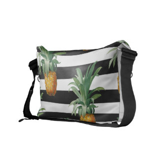 pineapples stripes grey commuter bags
