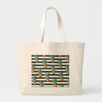 pineapples stripes grey large tote bag