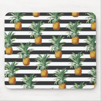 pineapples stripes grey mouse pad