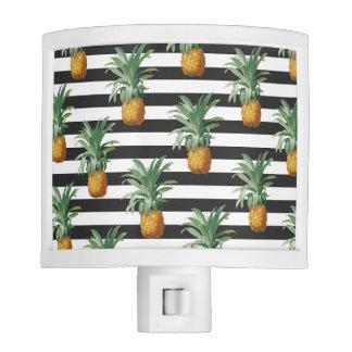pineapples stripes grey night light