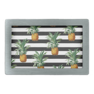 pineapples stripes grey rectangular belt buckles