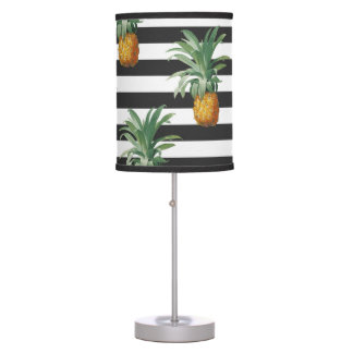 pineapples stripes grey table lamp