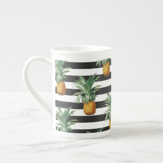 pineapples stripes grey tea cup