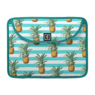 Pineapples Stripes Summer Pattern Teal Sleeve For MacBooks