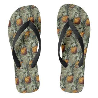 Pineapples Tan Background Flip Flops