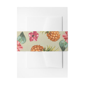 pineapples tropical beach wedding invitation belly band