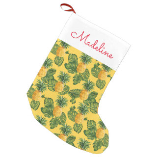 Pineapples & Tropical Leaves | Add Your Name Small Christmas Stocking