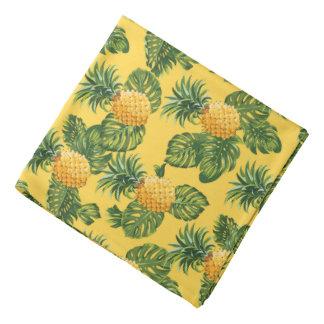 Pineapples & Tropical Leaves On Gold Bandana