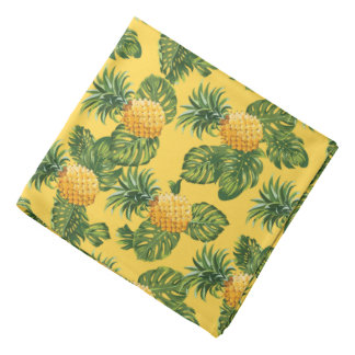 Pineapples & Tropical Leaves On Gold Bandanas