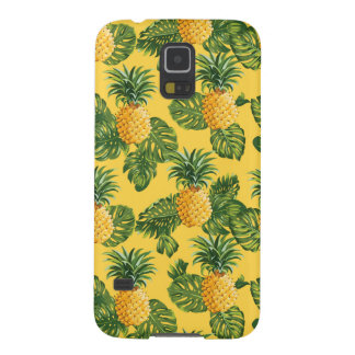 Pineapples & Tropical Leaves On Gold Cases For Galaxy S5