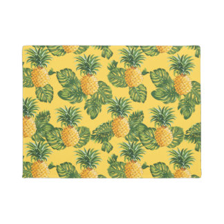 Pineapples & Tropical Leaves On Gold Doormat