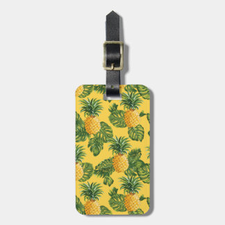 Pineapples & Tropical Leaves On Gold Luggage Tag
