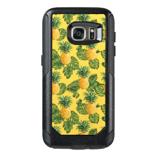 Pineapples & Tropical Leaves On Gold OtterBox Samsung Galaxy S7 Case