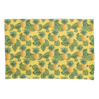 Pineapples & Tropical Leaves On Gold Pillowcase
