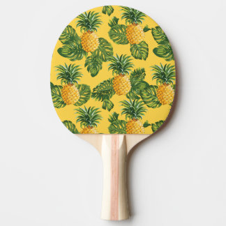 Pineapples & Tropical Leaves On Gold Ping-Pong Paddle
