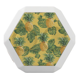 Pineapples & Tropical Leaves On Gold White Bluetooth Speaker