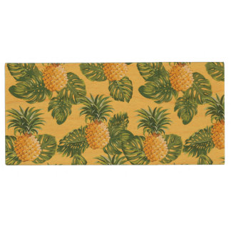 Pineapples & Tropical Leaves On Gold Wood USB Flash Drive