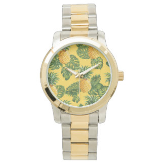 Pineapples & Tropical Leaves On Gold Wristwatch