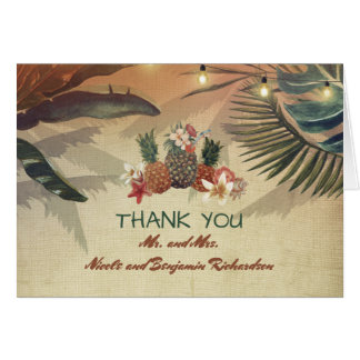 Pineapples Tropical Palm Lights Rustic Beach Card