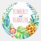 pineapples tropical palms beach wedding classic round sticker