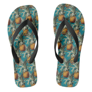 Pineapples Turquoise Blue Background Flip Flops