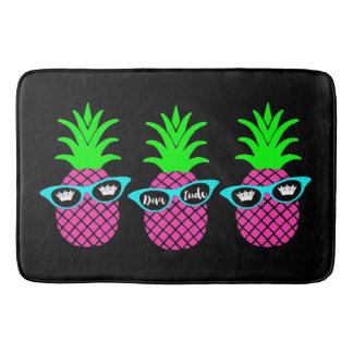 "Pineapples with ""DIVAtude"" and Tiaras Bath Mat"