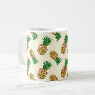 Pineapples with Sunglasses Hand Painted Coffee Mug