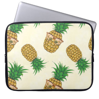 Pineapples with Sunglasses Hand Painted Laptop Sleeve