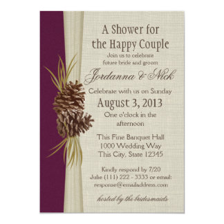 Pinecone and Burlap Look Couple's Shower Card