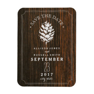 Pinecone Barn Wood Save The Date Magnet