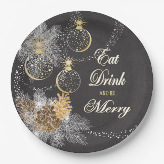 Pinecone Ornaments Chalkboard Christmas 9 Inch Paper Plate