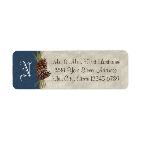 Pinecones and Burlap Navy Blue Winter Return Address Label