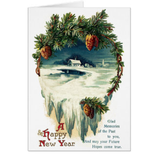 Pinecones and Winter Vignette Vintage New Year Card
