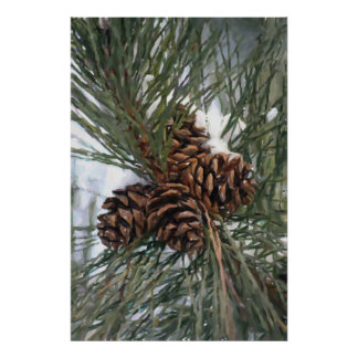 Pinecones Pine Tree In Snow Print