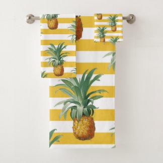 pinepples yellow stripes bath towel set