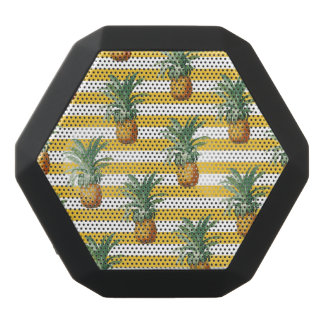 pinepples yellow stripes black bluetooth speaker